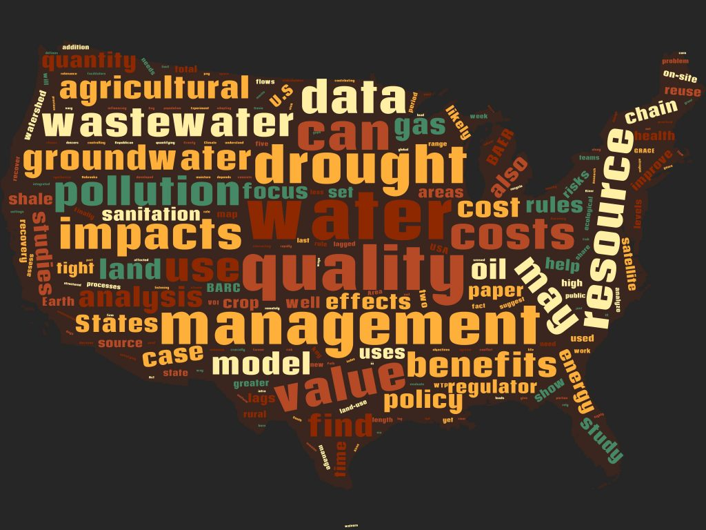 multicolored word cloud in shape of the US, featuring words pertaining to water management research